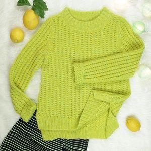 ANTHROPOLOGIE Field Flower lime green knit sweater